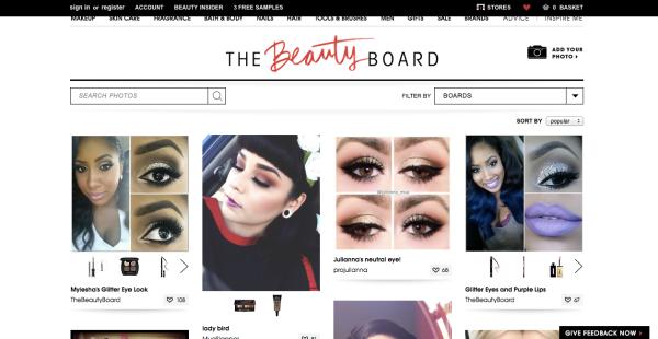 Aspecto de la plataforma Beauty Board, creada por Sephora.
