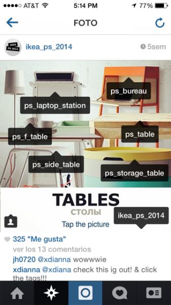 """Si oprimes la foto de """"tables"""" te lleva a una imagen tagueada con distintas cuentas que tienen cada uno de los modelos de mesas."""